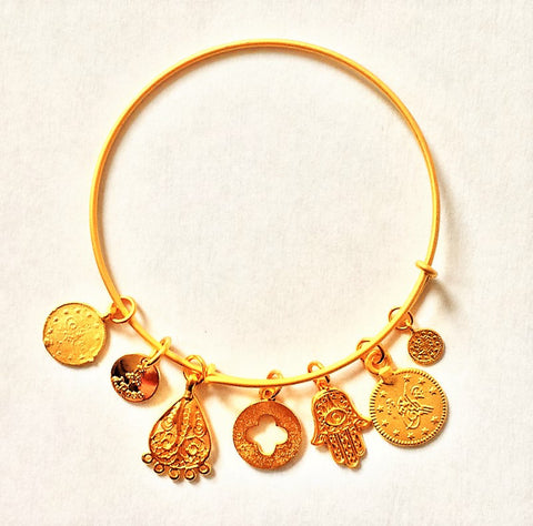 Bangle 22k Gold dip w/ Turkish Charms- Adjustable