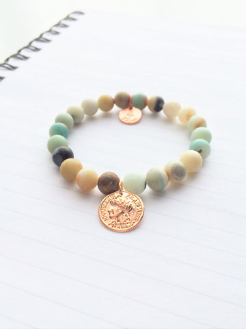 Amazonite w/ Rosegold Beaded Bracelet 8mm