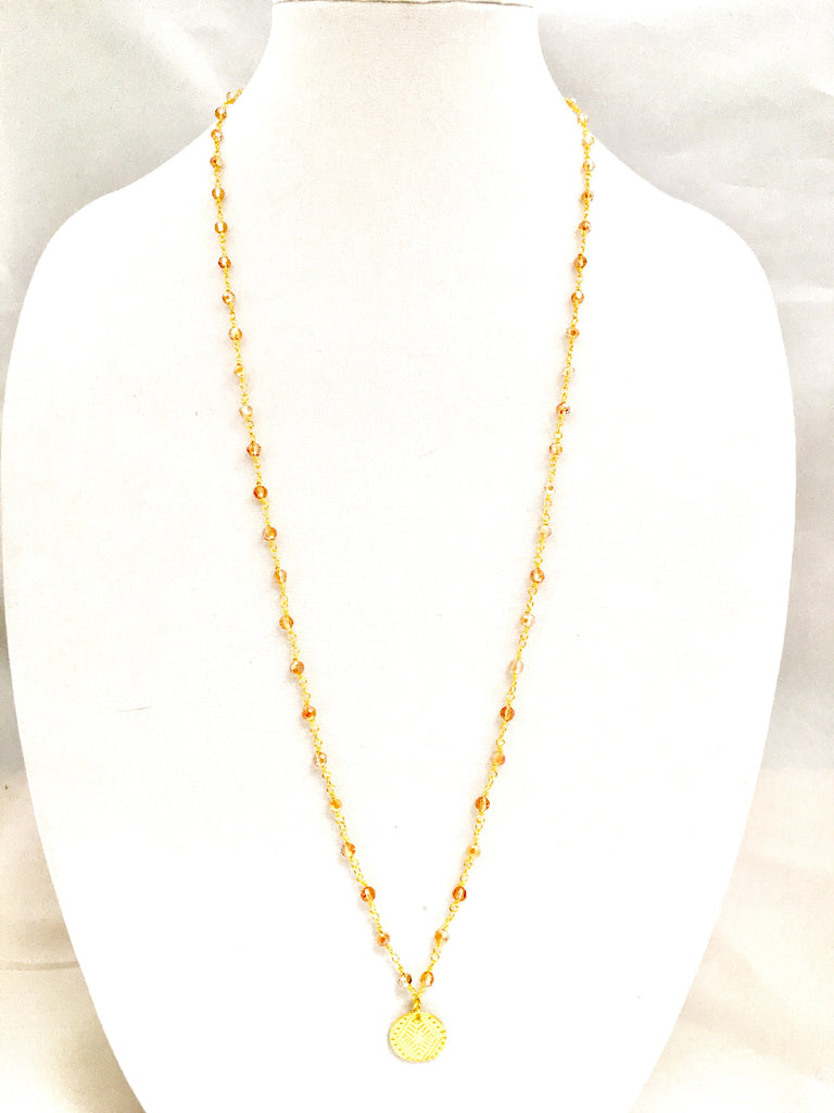 22k Gold dip/ Champagne Glass Quartz Rosary Chain w/ Tribal Pendant