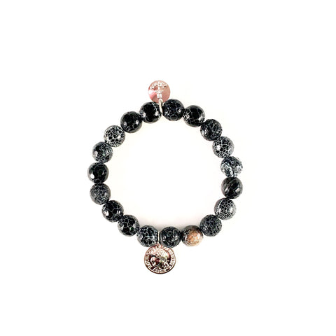 Black Agate Beaded Bracelet w/ Silver 10mm
