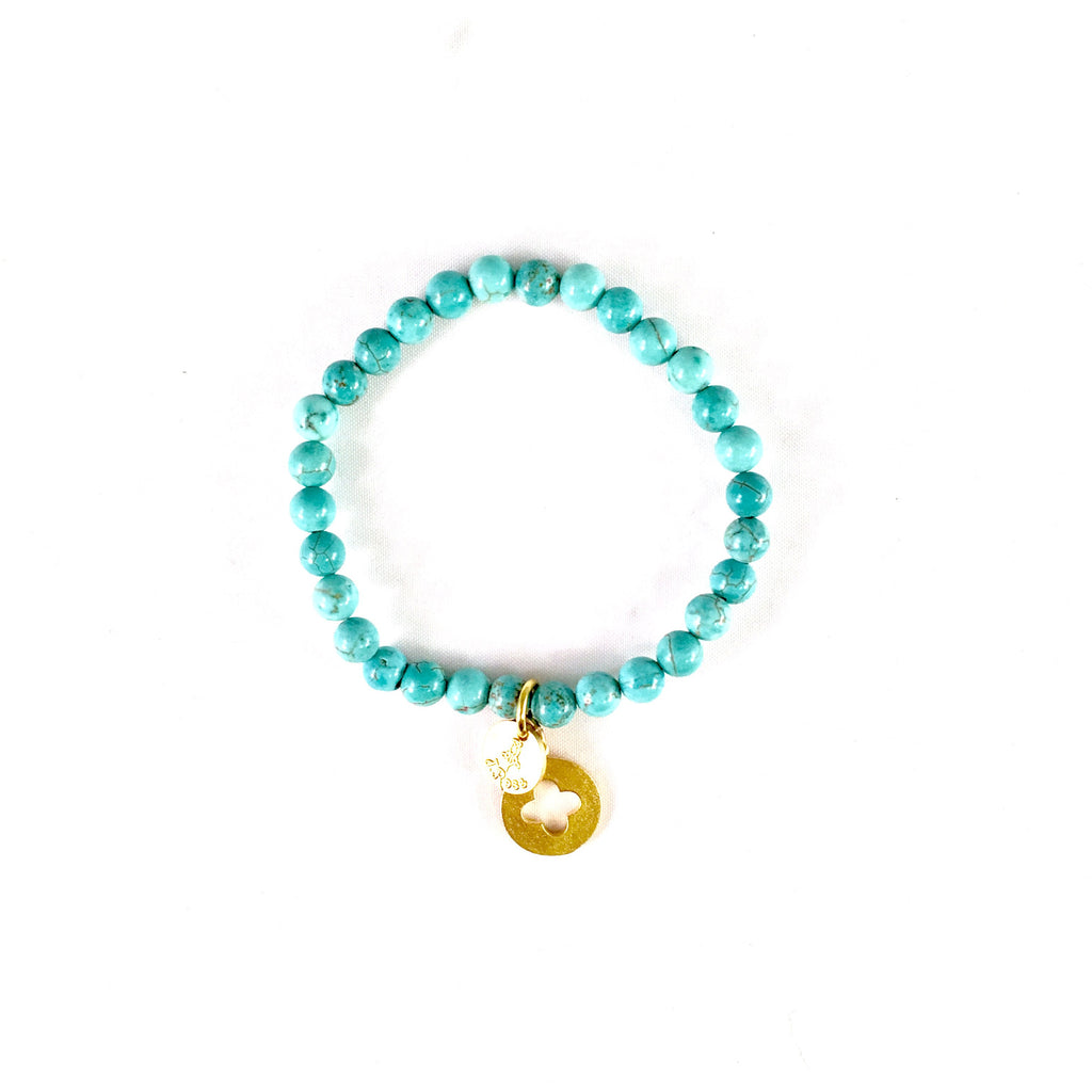 Turquoise w/ 22k gold dip Beaded Bracelet 6mm