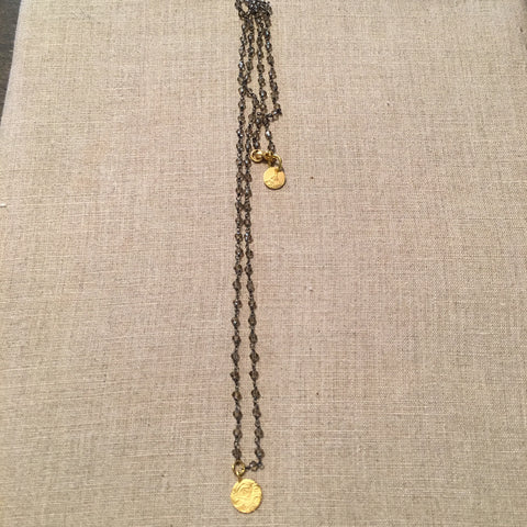 22k Gold Fill Evil Eye on Gunmetal Rosary Chain