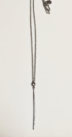 Gunmetal Long Necklace w/ CZ Pave Spike