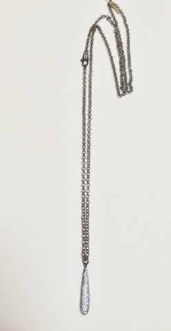 Gunmetal Long Necklace w/ 3D CZ Drop & Clasp