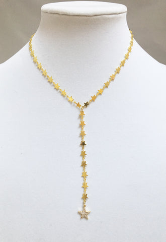Star Y-Necklace w/ CZ Star Drop