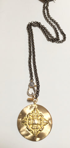 Gunmetal Long Necklace w/ Brass Medallion & Gold/Gunmetal CZ Clasp