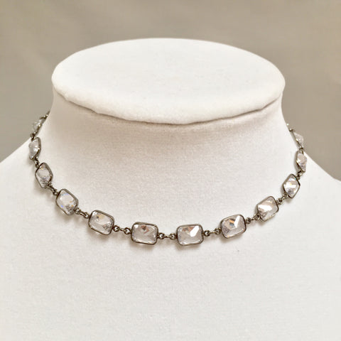 Gunmetal Cushion Cut Choker