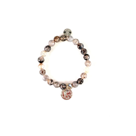 Black Fire Agate Beaded Bracelet w/ Black Rhodium 8mm