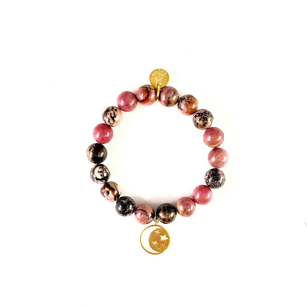 Rhodochrosite w/ 22k gold dip Beaded Bracelet 10mm