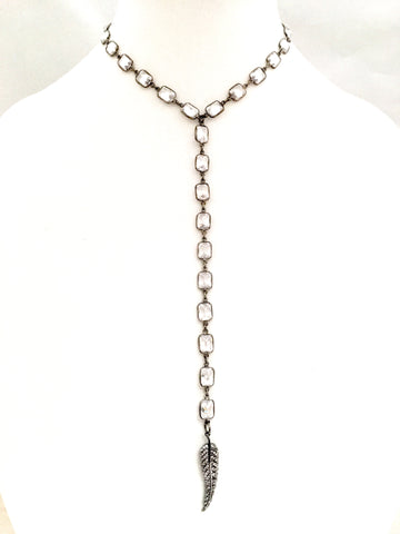 Gunmetal & CZ Cushion Cut Y-Neck Choker w/ CZ Feather