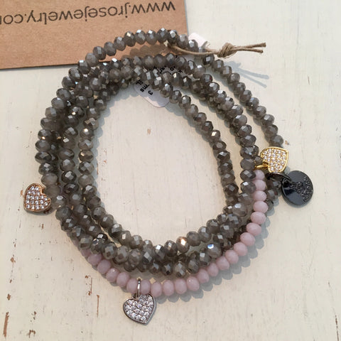 Grey Pink 5x Wrap Tri-Color CZ Hearts