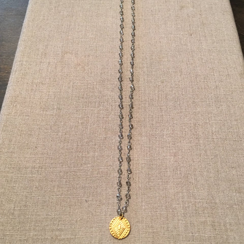 22k Gold Fill Tribal Pendant on Silver Rosary Chain