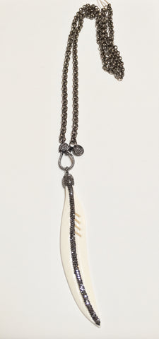Gunmetal Long Necklace w/ Pave Bone Feather & Clasp