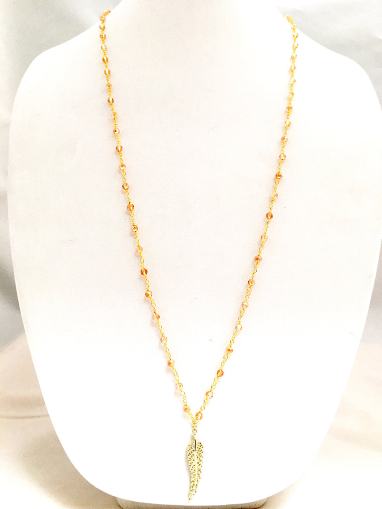 22k Gold dip/ Champagne Glass Quartz Rosary Chain w/ CZ Gold dip Feather