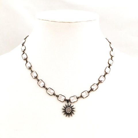 Gunmetal CZ Cushion Cut Necklace w/ Star