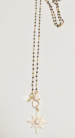 Black Spinel & Gold Pyrite Rosary Chain w/ CZ Starburst & Clasp