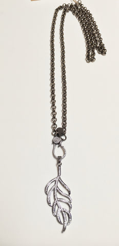 Gunmetal Long Necklace w/ CZ Leaf & Clasp