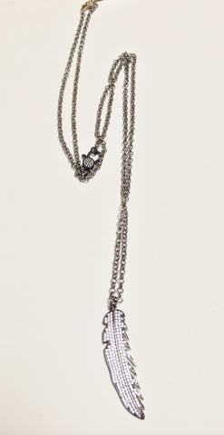 Gunmetal Long Necklace w/ CZ Feather & Clasp
