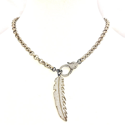 Gunmetal Necklace w/ CZ Feather & Clasp