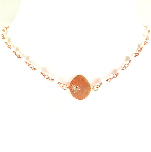 14k Rose Gold Plate Rosary Choker Necklace w/ Oblong Disc Charm CZ Heart 16""