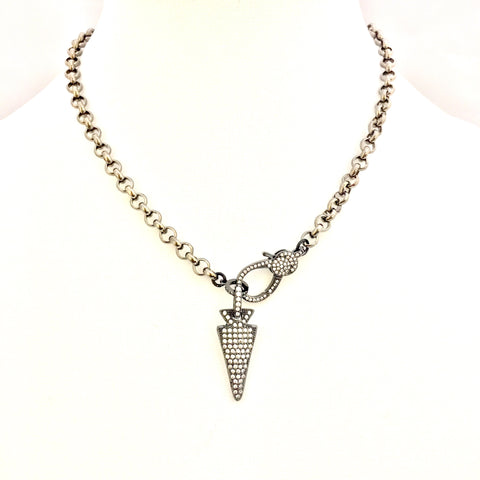 Gunmetal Necklace w/ CZ Arrow & Clasp