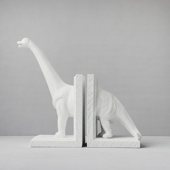 White Moose - Diplodocus Book Ends - White