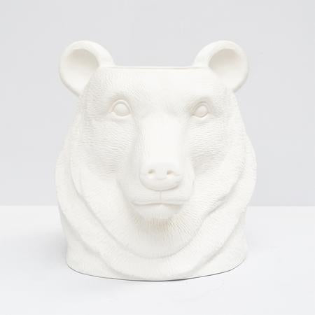 White Moose Bear Head Vase