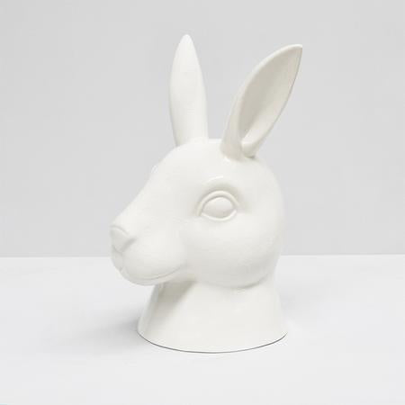 White Moose Bunny Head Vase