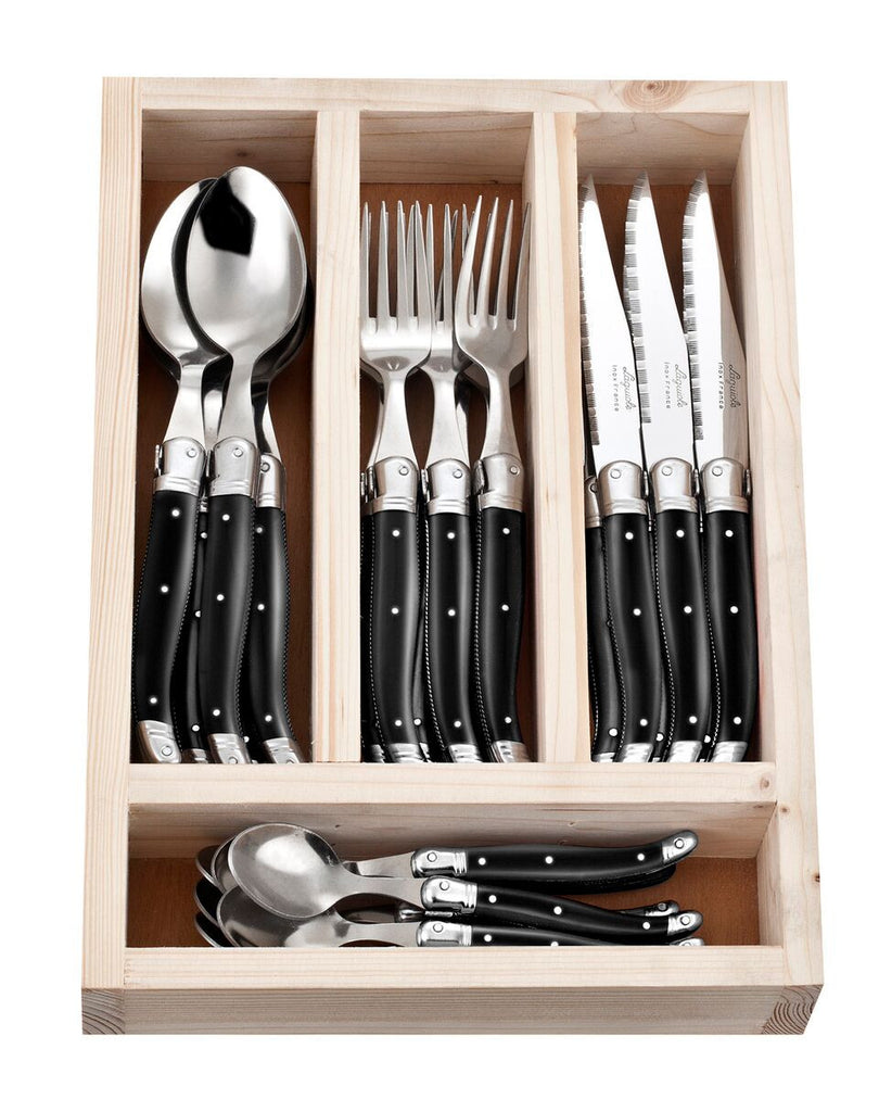 Laguiole 24 Piece Cutlery Set - Black