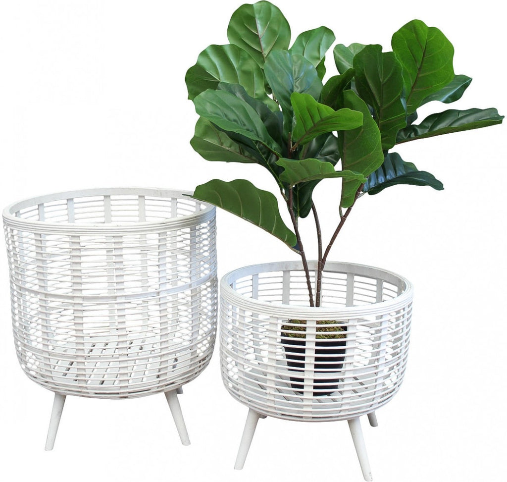 White bamboo planter - small