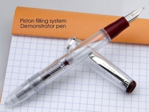 New Dollar Brand Clear Demonstrator Transparent Piston filler Mechanism Fountain Pen Red Wine Color