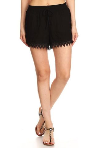 Crinkle and Lace Shorts