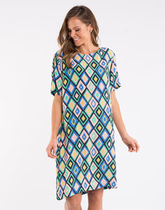 elm prism shift dress green