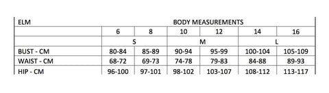Elm body measurements Global Free Style