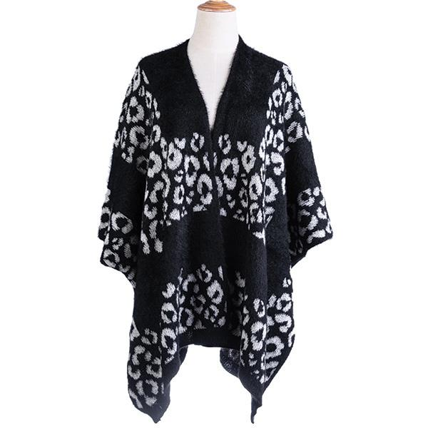 Ameise Eleanor Leopard Print Poncho Black - Global Free Style