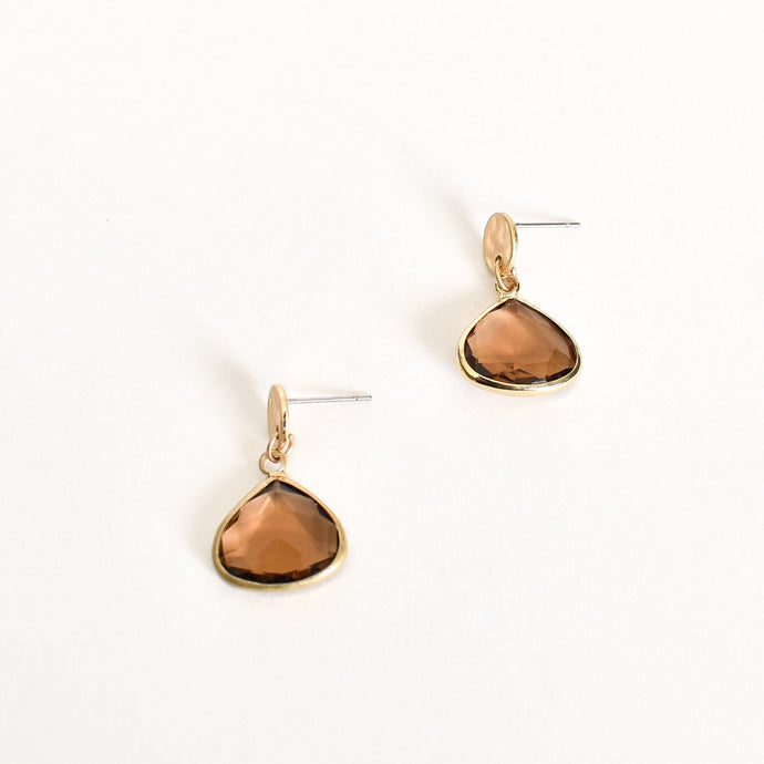 Adorne Mini Glass Drop Beaten Button Top Earrings Camel Gold - Global Free Style