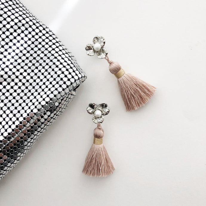 Adorne Metal Flower Tassel Earrings Nude Silver - Global Free Style
