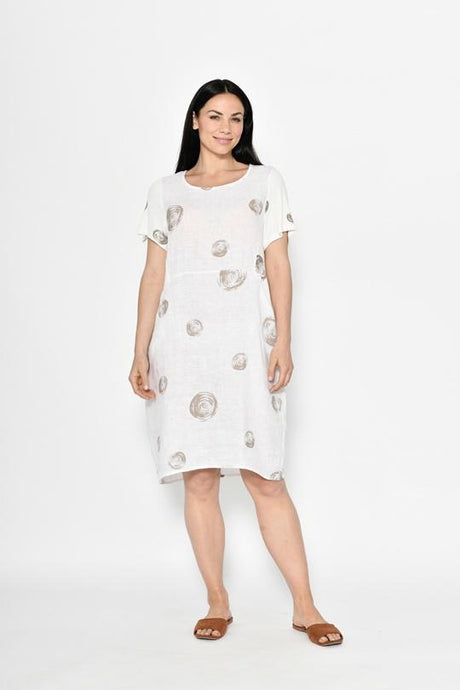 Cali & Co Short Sleeve Dress Collette White - Global Free Style