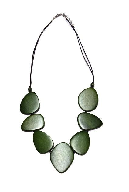 Cinnamon Creations Oval Wood necklace Olive Green - Global Free Style