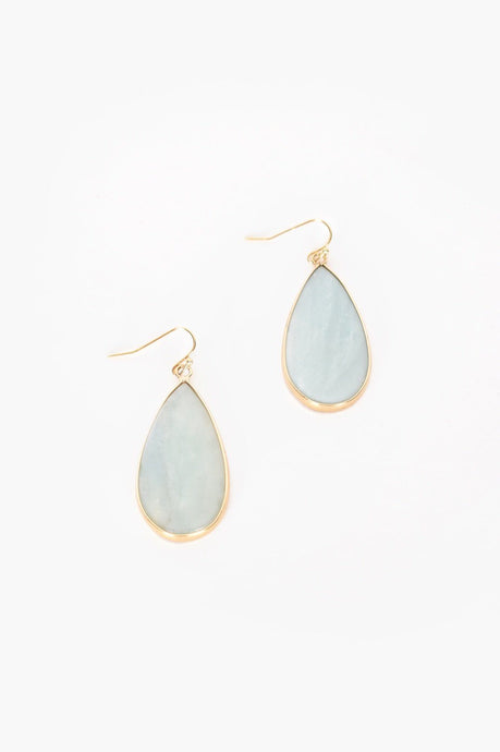 Adorne Stone Teardrop Hook Earrings Mint Gold - Global Free Style