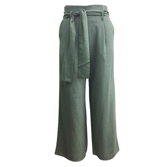Sunny Girl Linen Pants Army Green - Global Free Style
