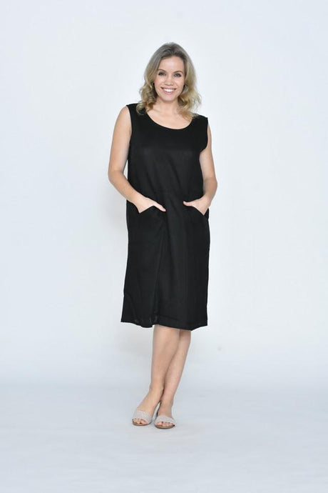 Cali & Co Aletha Sleeveless Front Pocket Linen Dress Black - Global Free Style