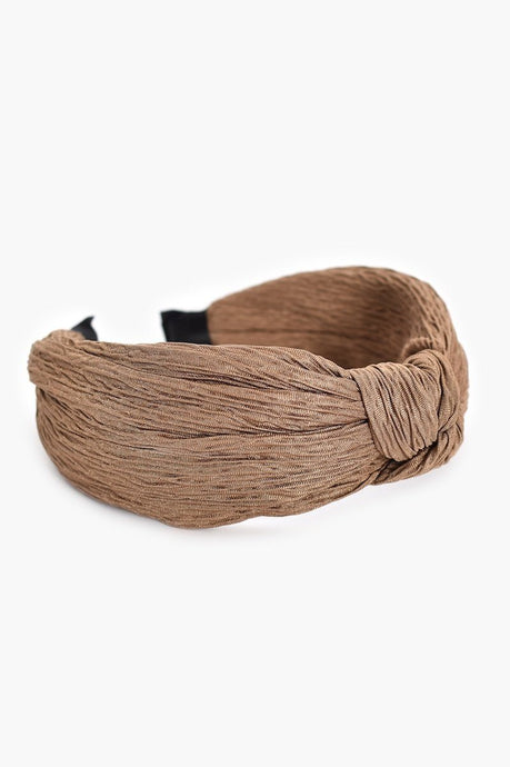Adorne Crinkle Fabric Knot Headband Camel - Global Free Style