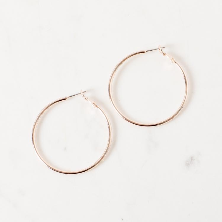 Adorne Medium Fine Hoop Earrings Rose Gold - Global Free Style