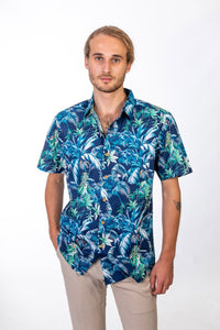 Skumi Mens Button Up Short Sleeve Cool Days Navy - Global Free Style