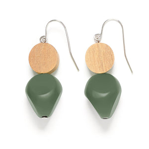 Rare Rabbit Wood and Pebble Drop Earrings 2 Colours - Global Free Style