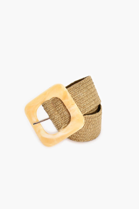 Adorne Resin Buckle Stretch Weave Belt Natural/ Cream - Global Free Style