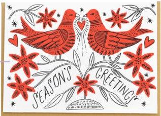 Hello Lucky Christmas Card Embroidered Doves - Global Free Style