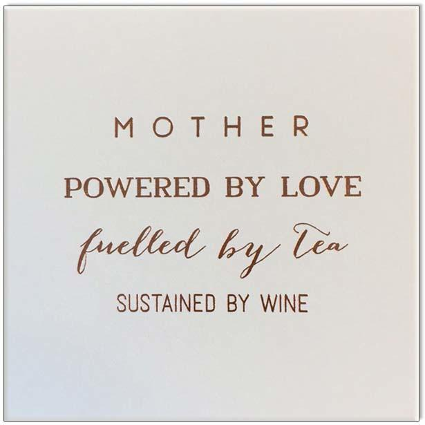 Pink Champagne Card Mother Powered by Love - Global Free Style