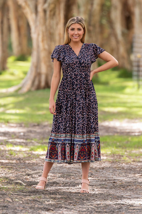 Boho Joycelyn Midi Dress Navy - Global Free Style